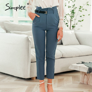 Image 5 - Simplee Women fashion high waist pencil pants Spring female casual belt patchwork long pants Office lady work wear trousers