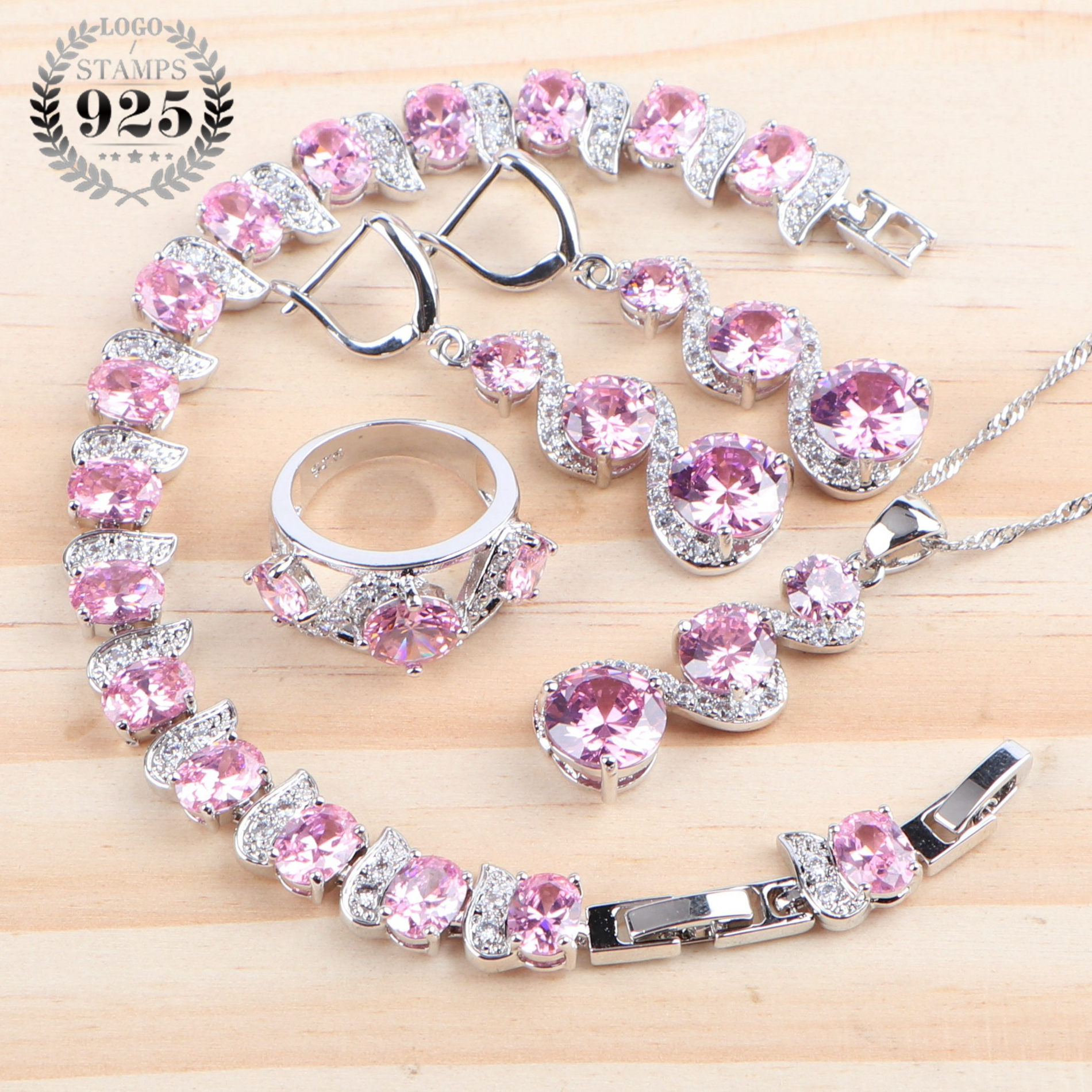 Wedding Bridal Jewelry Sets For Women Costume Pink Cubic Zirconia Silver 925 Necklace Ring Earrings Earrings Bracelet Gift Box