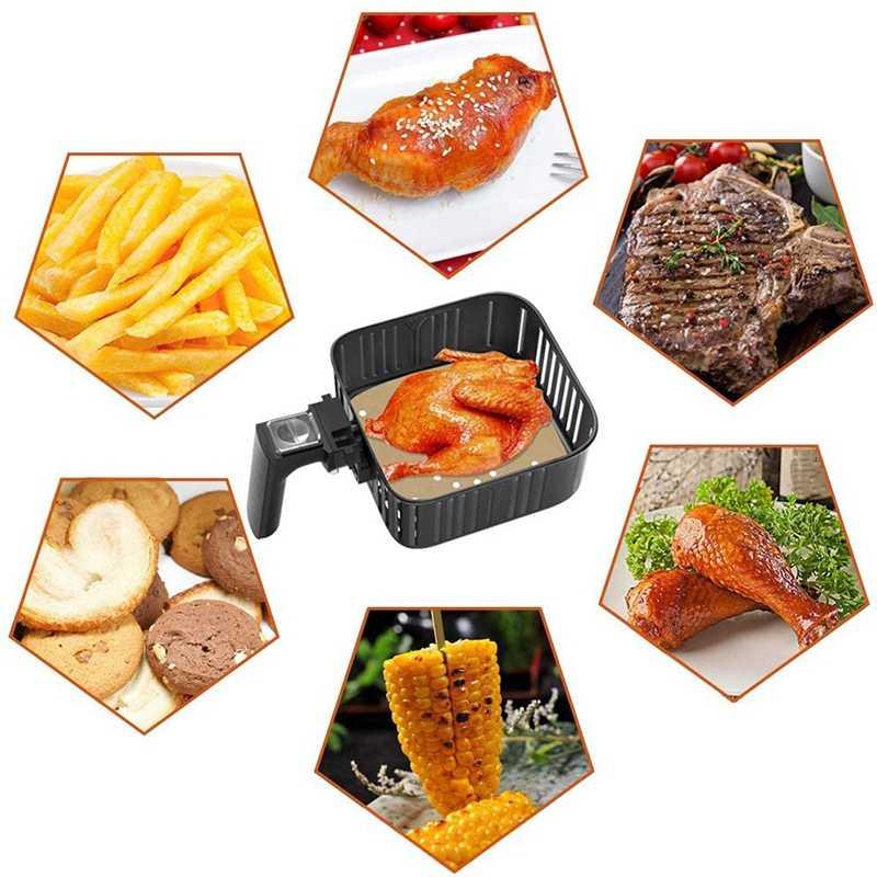 Air Fryer Bantalan, 200 Lembar, 7.5 Inch Unbleached Square Air Fryer Bantalan/Steamer Kertas/Silikon Kertas