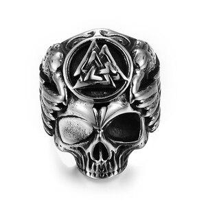Миф Готический Odin кольцо с изображением ворона Ретро Odin с Ворон череп кольцо для мужчин кольцо викингов норвежский амулет ювелирные издели...