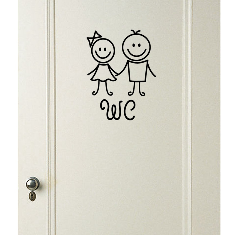 1Pc Cartoon WC Bathroom Door Wall Stickers Toilet Home Decoration Waterproof Wall Decals Toilet Sticker Decorative Paste Decor