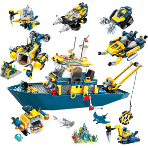 City Series Marine Science Boat Submarine Adventure Building Blocks Toys Children Christmas Gifts Compatible