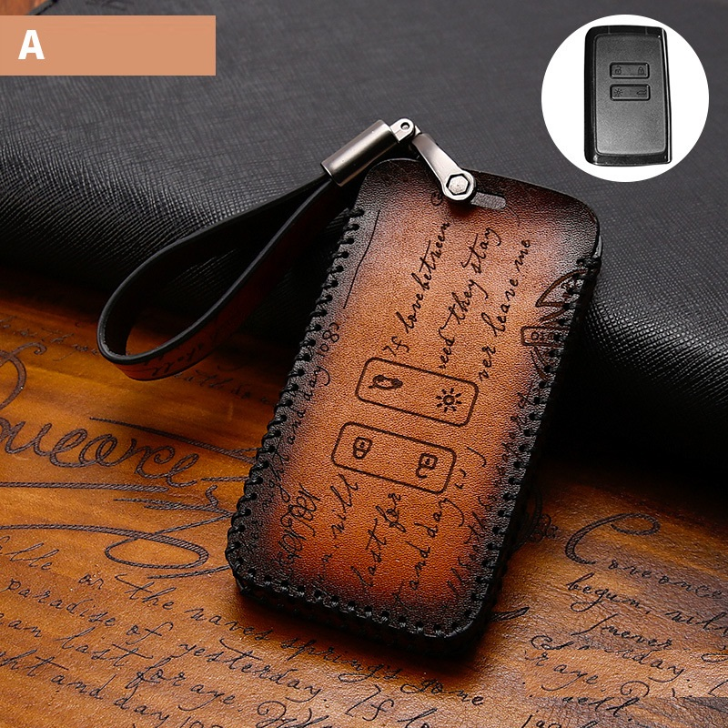 Genuine Leather car key case cover for Renault KOLEOS Kadjar 2016 2017 QM5 4 button card smart key case cover