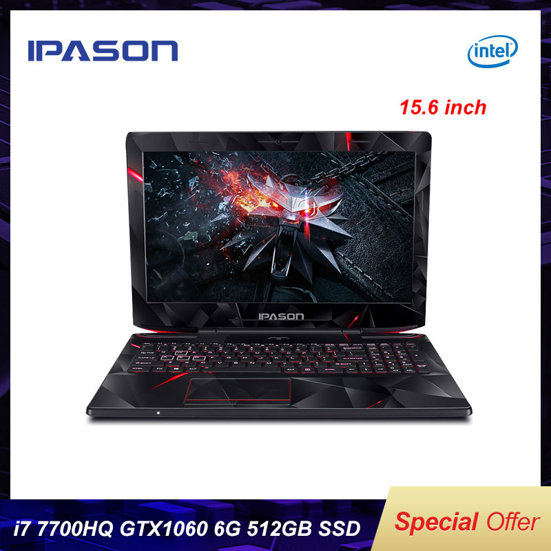 IPASON 15 6 inch IPS Gaming Laptop intel i7 7700HQ GTX1060 6G RGB 8GB 16GB RAM DDR4 256GB 512GB SSD Gaming Notebook Computer