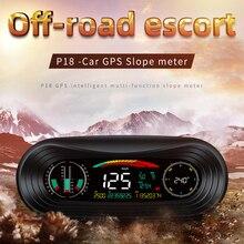 P18 자동차 GPS HUD 헤드 업 디스플레이 스마트 GPS 슬로프 미터 속도계 과속 경고 게이지 디지털 다기능 알람 도구 New