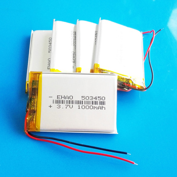 5 pcs 3.7V 1000 mAh Polymer Lithium Rechargeable Lipo battery 503450 for smart phone DVD mp3 Led Lamp camera image
