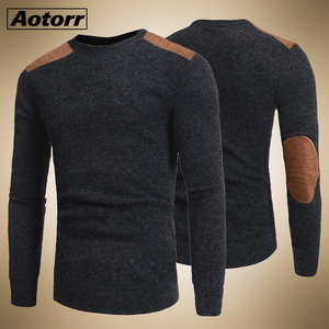 2020 Pullover Mens College Style Patch Color Contrast and Thickened Round Neck Sweater Male Fashion Thick Wool Sweater Knitwear