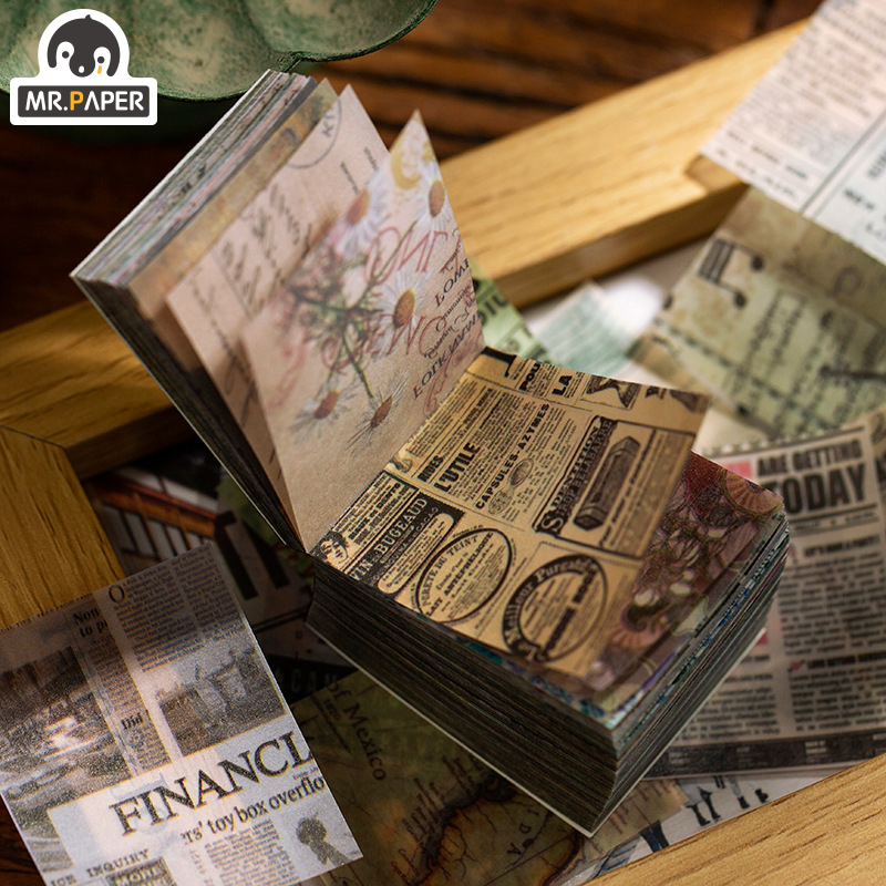 Mr.paper 365pcs Antique Ins Style Plant News Kraft Card Journaling Bullet DIY Scrapbooking Butter Material Paper Retro LOMO Card