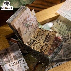 Mr.paper 365pcs Antique Ins Style Plant News Kraft Card Journaling Bullet DIY Scrapbooking Butter Material Paper Retro LOMO Card