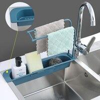 Telescópico fregadero de cocina escurridor estante de almacenamiento de bolsa de soporte para grifo esponja titular ajustable baño titular para la cocina de casa