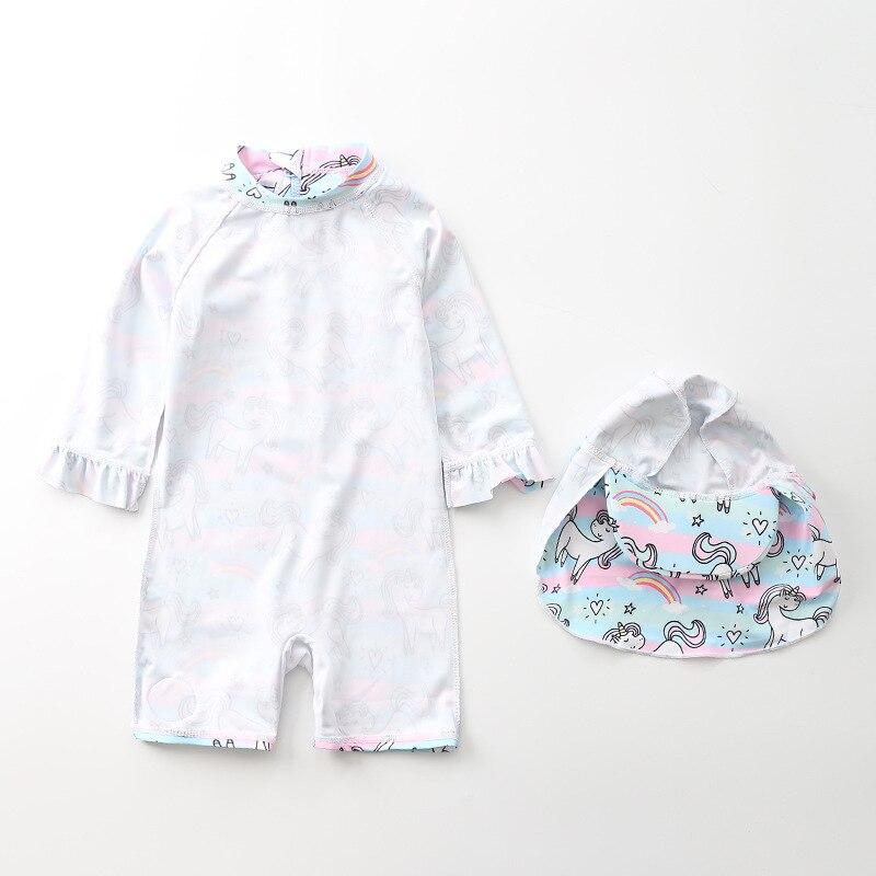 INS KID'S Swimwear Baby Girls One-piece Rainbow Unicorn Swimwear Cute Children Infant Girls Swimwear