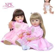Силиконовая Оригинальная кукла реборн NPK 55 см, кукла принцессы в розовом платье, два цвета волос, игрушка для ванны