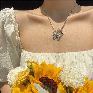 Kpop harajuku unif Стиль нержавеющая сталь колье с бабочками бусы с подвеской для женщин Милые ожерелье в панк-стиле Стиль ожерелье Collares Mujer