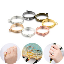20pcs/lot Silver Plated RingsAdjustable Blank Ring Settings with Hole for DIY Fashion Rings Jewelry Making Accessories Findings
