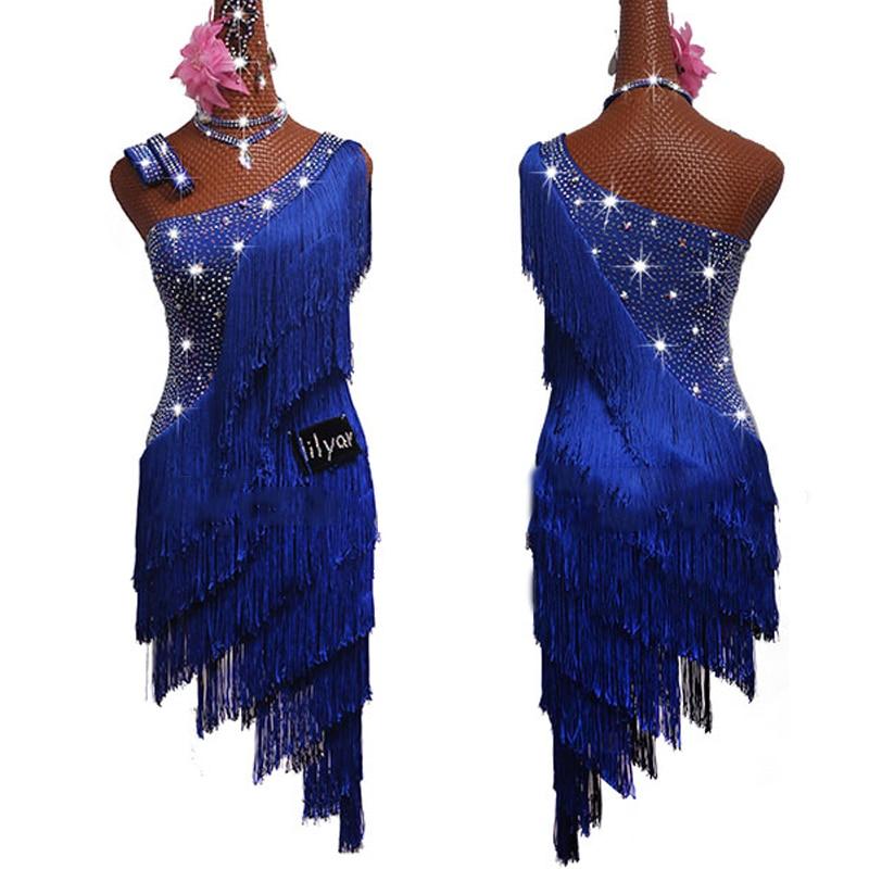 Latin Dance Competition Dress Women Rhinestone Dress Blue Tassels Dress Rumba Dress Stage Wear Gatsby Dance Clothes Women BL2548
