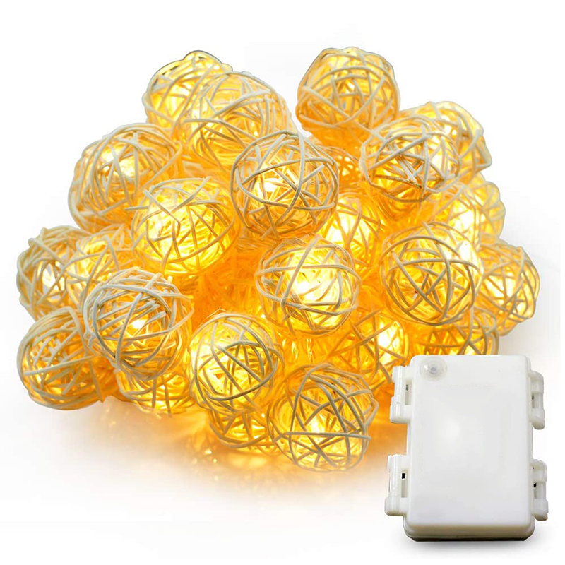 LEADLY 4/5M 20 Led Rattan Ball Light String Holiday Led Xmas Lights Outdoor String Lights Decor For Party Holiday Wedding Lamp