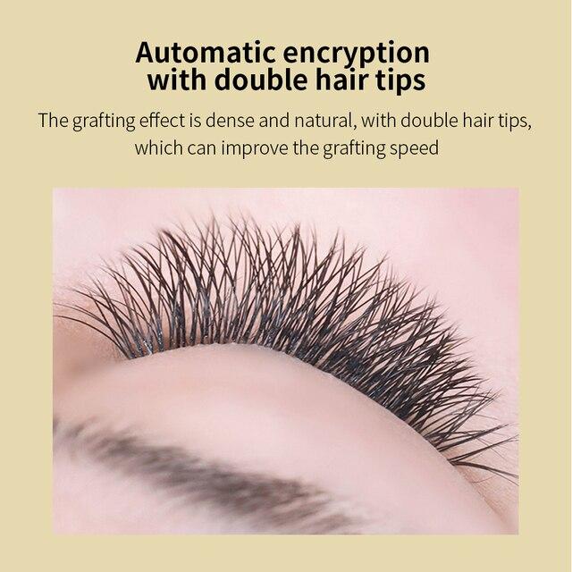 GLAMLASH  V Shape Auto-Fans 2D YY Eyelash Extension Soft Ellipse Flat Split Tips Premade Volume Premium Individual false Lashes 2
