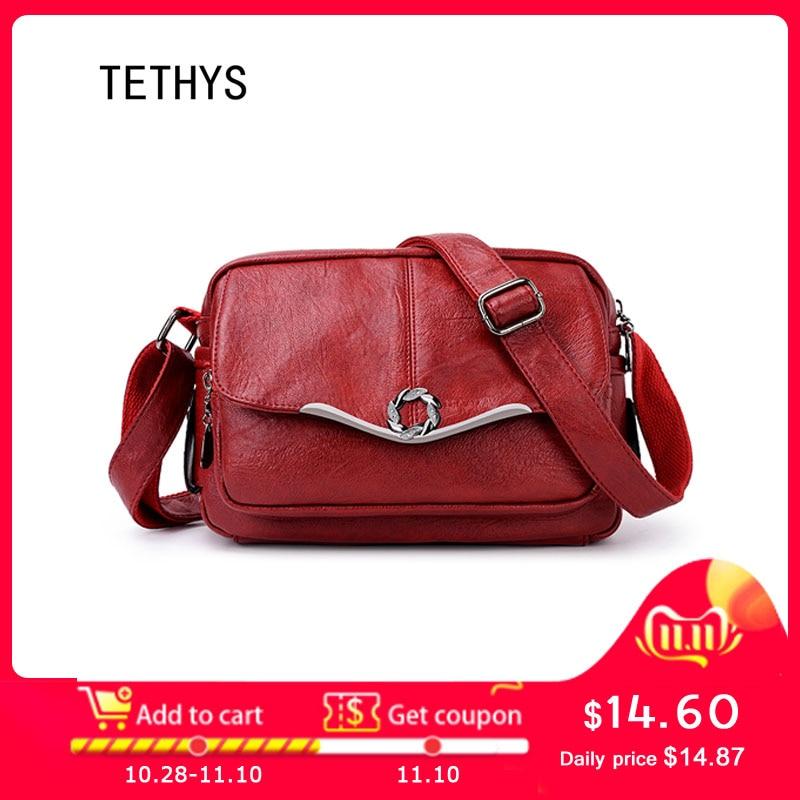 TETHYS 2019 Designer Bags Famous Brand Women Bags Luxury Ladies High Quality Shoulder Bag Women Leather Cross Body Bag Sac A Dos