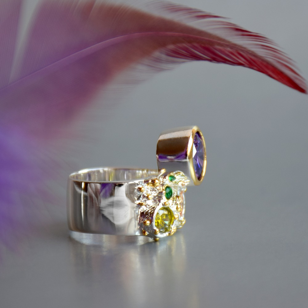 WA11704 DreamCarnival 1989 New Arrive Colorful Feminine Zircon Ring for Women Big Purple Stone Gothic Wedding Engagement Jewelry6