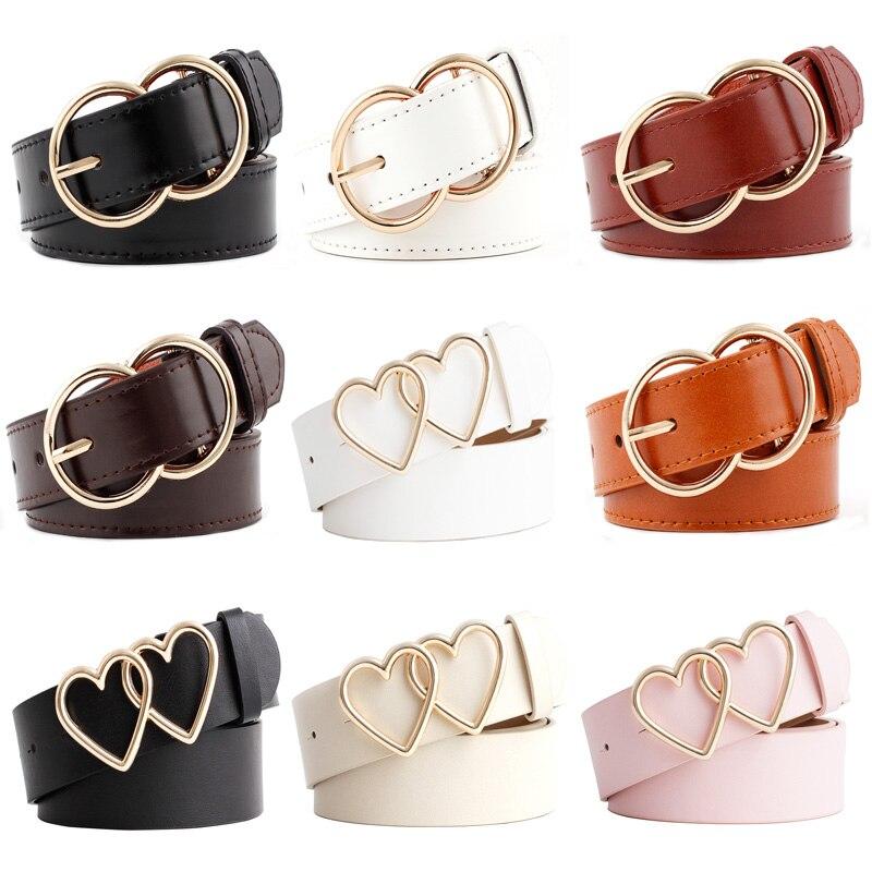 11 Styles Fashion Women's Belt PU Business Double Round Buckle Wild Ladies Waistbelt Love Buckle Dress Decoration Female Belts
