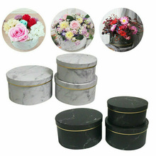 3 Pcs Florist Flowers Gifts Box Marble Pattern Round Packing Case for Wedding Party YU-Home