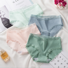 2020 thread lace Japanese cotton stripe womens underwear mid waist large pure triangle underpants