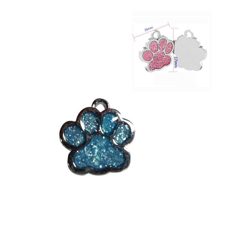 1 PC PAW รูปร่างจี้สุนัขสัตว์เลี้ยง Alloy ID Tags Puppy PET การ์ด PET COLLAR จี้สำหรับแมวสัตว์เลี้ยงสุนัข 6 สี