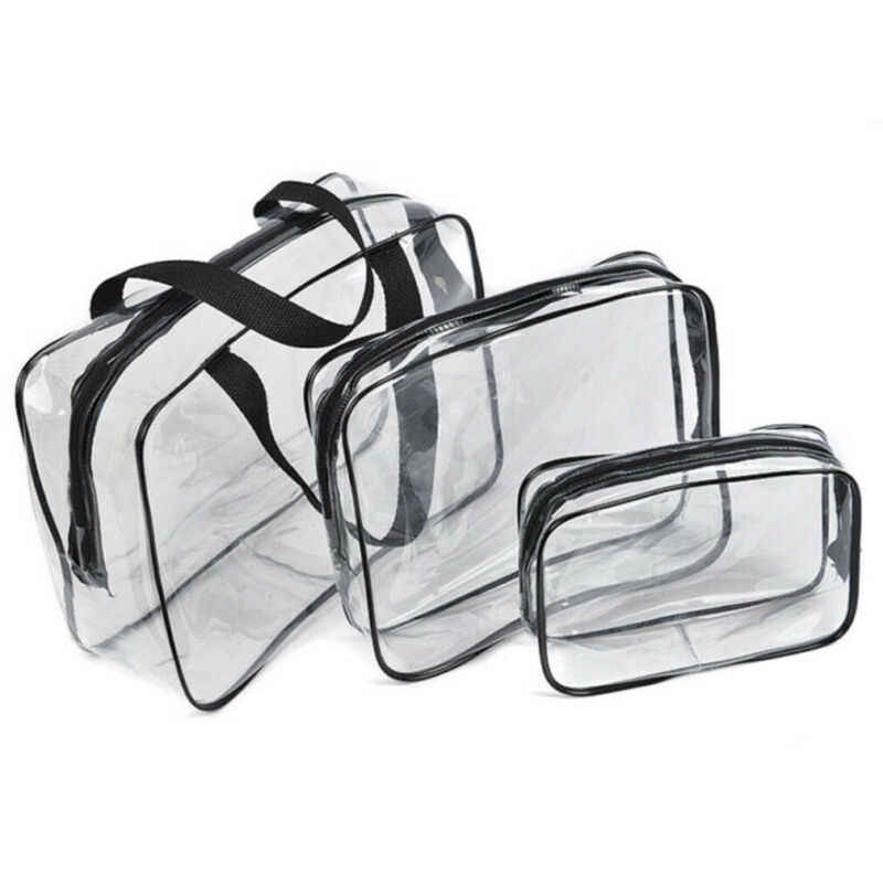 1Pcs Clear Transparent Plastic PVC Travel Makeup Cosmetic Toiletry Zip Bag S/M/L