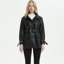 Chaquetas de cuero mujer 2019 long section women's leather jacket loose locomotive chaqueta de cuero mujer lapel jacket belt цена