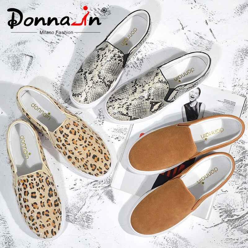 Donna-in 2020 sonbahar leopar yılan baskı kadınlar Flats ayakkabı platformu üzerinde kayma rahat hakiki deri bayan loafer ayakkabılar ile kürk