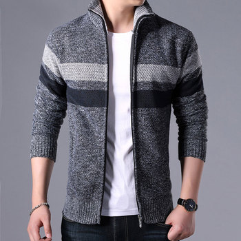 2019 Men Winter Brand Thick Warm Cashmere Wool Zipper Cardigan Sweaters Man Casual Knitwear Sweatercoat Male Clothe S-3XL afs jeep cashmere inner men s thick 100