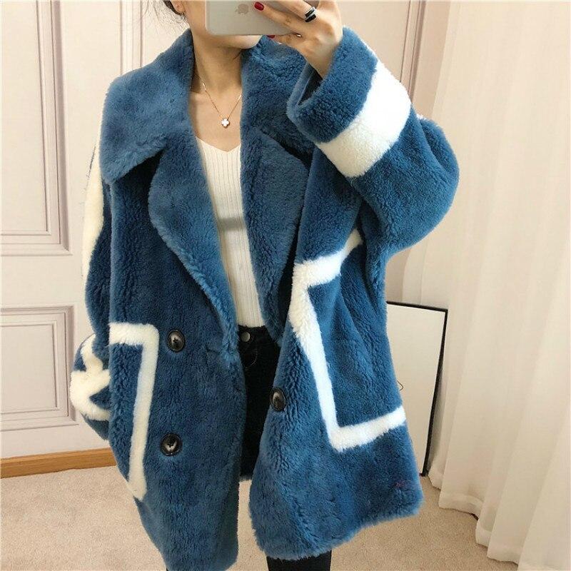Wool Jacket Autumn Winter Coat Women Clothes 2020 Korean Vintage Real Fur Coat Sheep Shearling Suede Lining Abrigo Mujer ZT3586