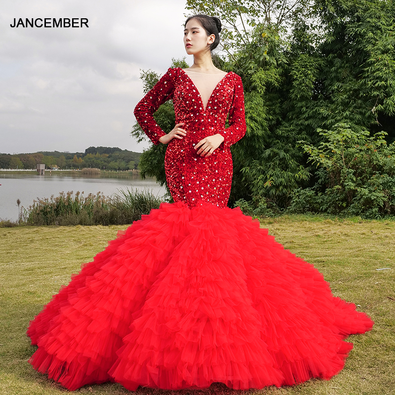 J67003 Jancember Long Evening Dresses 2020 O Neck Mermaid Floor Length Court Train Sequined Lace Tiered Red Dress Vestido Sereia