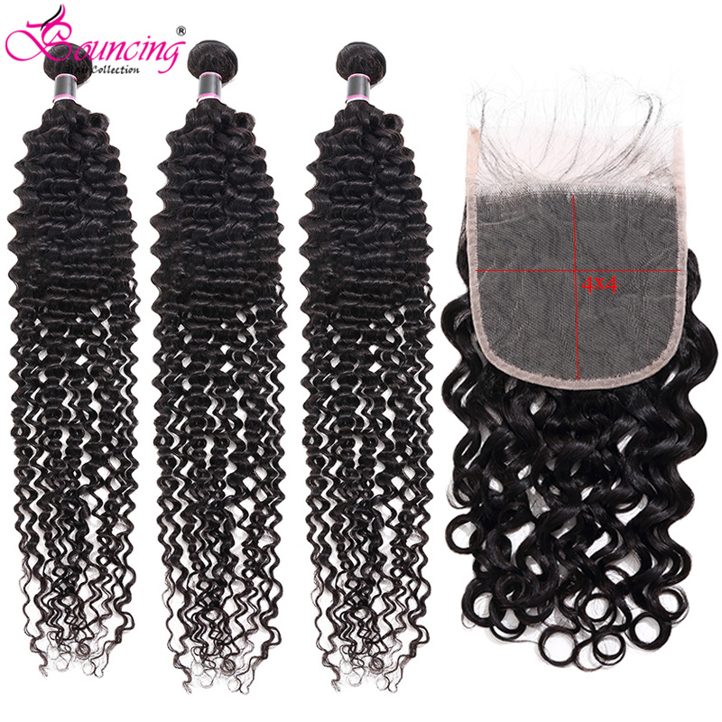 Bouncing Water Wave 3Bundles With 4x4Closure Brazilian Remy Human Hair Natural Black 4PCS/LOT Hair Weft Bundels For Women Weave