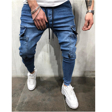 2019 autumn hot Europe and the United States style mens hip hop wash casual sports pants beam feet jeans