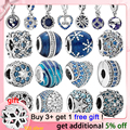 Genuine 925 Sterling Silver Blue Night Sky Sparkling Star Moon Charms Beads fit Original pandora Bracelets Women DIY Jewelry