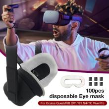Disposable VR Eye Mask Breathable Pure Cotton Sweat Absorbent Face for Oculus Quest/Rift CV1/Rift S/HTC Vive Pro 100Pcs