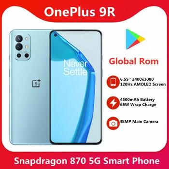 Global Rom OnePlus 9R 5G Smartphone Snapdragon 870 6.55'' 120Hz AMOLED Display 4500mAh 65W Warp Charge 48MP Quad Camera 1