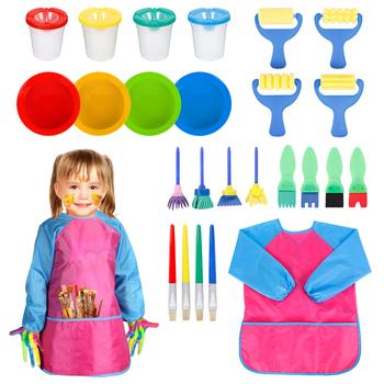 25 sztuk dzieci pędzle malarskie i gąbki materiały malarskie zestaw pędzelków dzieci farby miski wyciek dowód farby garnki z fartuch zestaw zabawek tanie i dobre opinie 25pcs Kids Paintbrushes