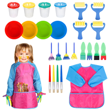 25pcs Kids Paint brushes & Sponge Painting Supplies Brushes Set Children Bowls Spill Proof Pots with Apron Toy Kit