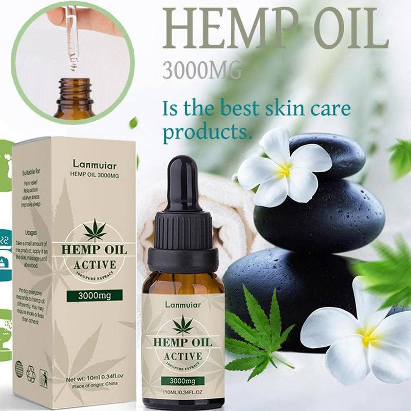 Organic Hemp Oil, 100% Natural Sleep Aid Anti Stress Hemp Extract Drops For Pain, Anxiety & Stress Relief, 3000mg Contains Cbd