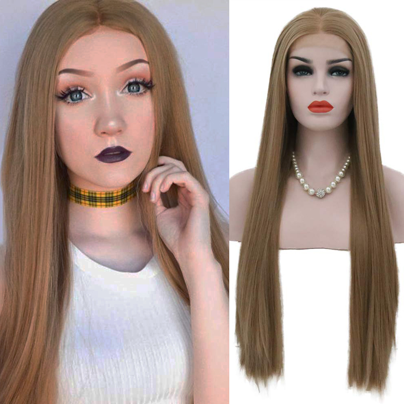 AIMEYA Middle Part Brown Long Straight Wigs for Women Heat Resistant Synthetic Lace Front Wigs Half Hand Tied Natural Hairline