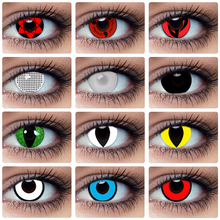 Kolorowe soczewki kontaktowe na Halloween Anime Kakashi Sasuke Sharingan Cosplay kolorowe soczewki na oczy lalki szalone piękno soczewki źrenicy tanie tanio NARUTO CN (pochodzenie) 14 0-14 5 Dwa kawałki 0 04-0 06 mm HEMA Piękna źrenica Color Contact Lenses Colored Contact Lenses Eye Cosmetic Annual Color Contact Lenses
