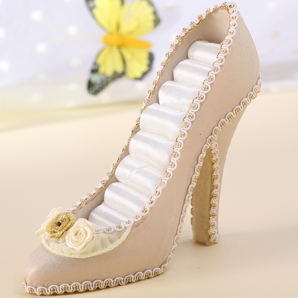 Elegant White Mini High Heel Shoe Jewelry Holder Display For Home Decoration Store Selling Counter Top Display Trades Shows