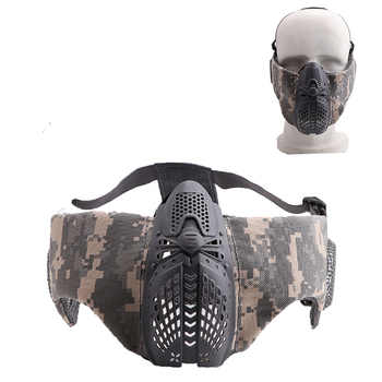 Airsoft Tactical Half Face Protective Mask Mesh Lower Face Mask With Ear Protection Military Paintball Hunting CS Shooting Masks 1000d nylon high quality military tactical mask airsoft shooting mesh mask with ear protection paintball masks for hunting cs