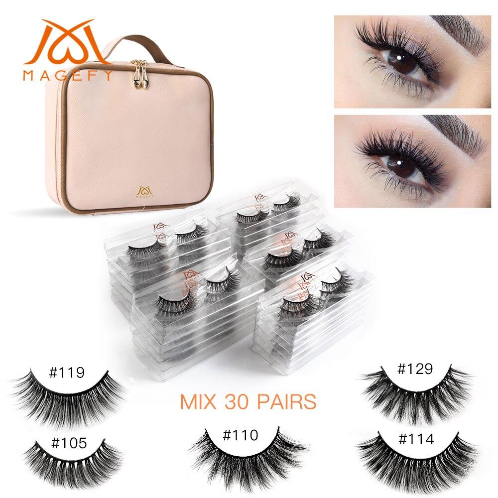 30 Pairs Multipack Wholesale 3d Mink Lashes Natural False Eyelashes With Makeup Bag Wispy Long Mink Eyelash Extension Makeup