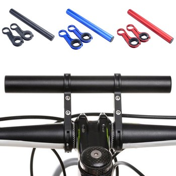 Aluminiowa podwójna kierownica roweru górskiego Extender rowerowa ekspander prędkościomierz góra reflektor latarka uchwyt lampy tanie i dobre opinie 25 1-26 5mm Rest Handlebar TT Handlebar 300-400mm Bicycle Parts Carbon Fibre Mountain Bikes Bike handlebar extender Mountain Bikes Road Bicycles