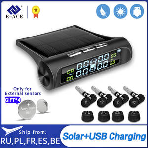 E-ACE Tire-Pressure-Alarm-System Solar-Power TPMS Display Digital Car Safety Smart-Car