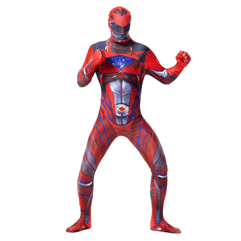 Adult Red Power Ranger Mighty Morphin 2nd Skin Fancy Dress Bodysuit Mens Costume