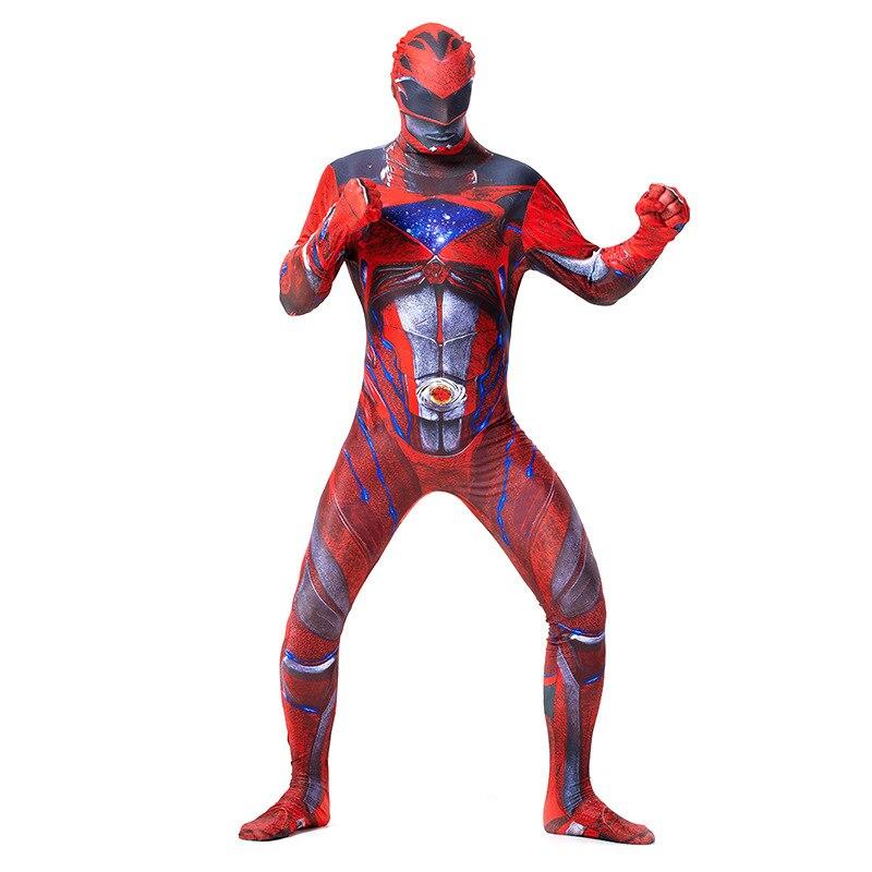 Adult Red Power Ranger 2nd Skin Suit Zentai Halloween Costume